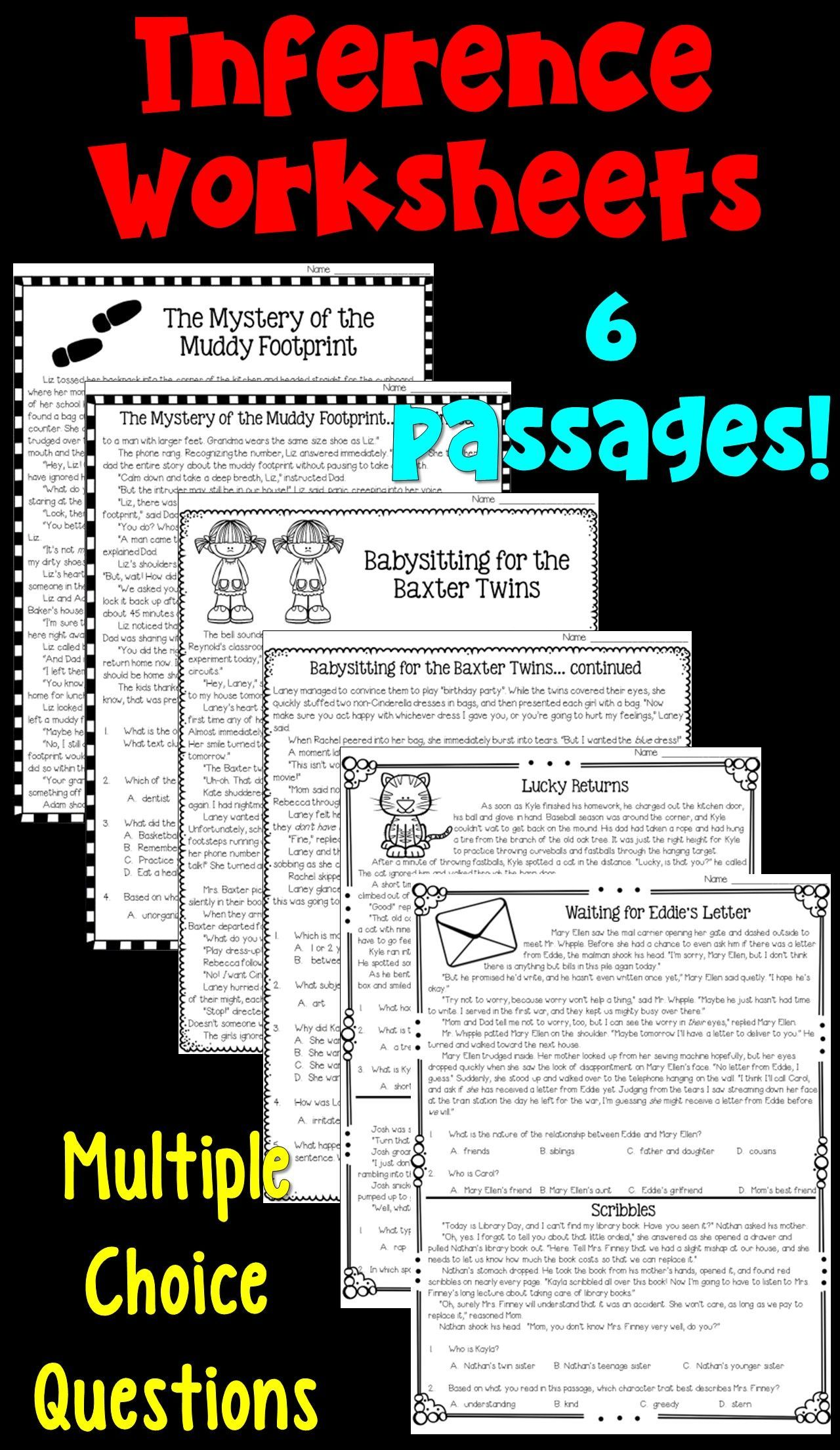 Making Inferences Worksheets Students Read Six Passages