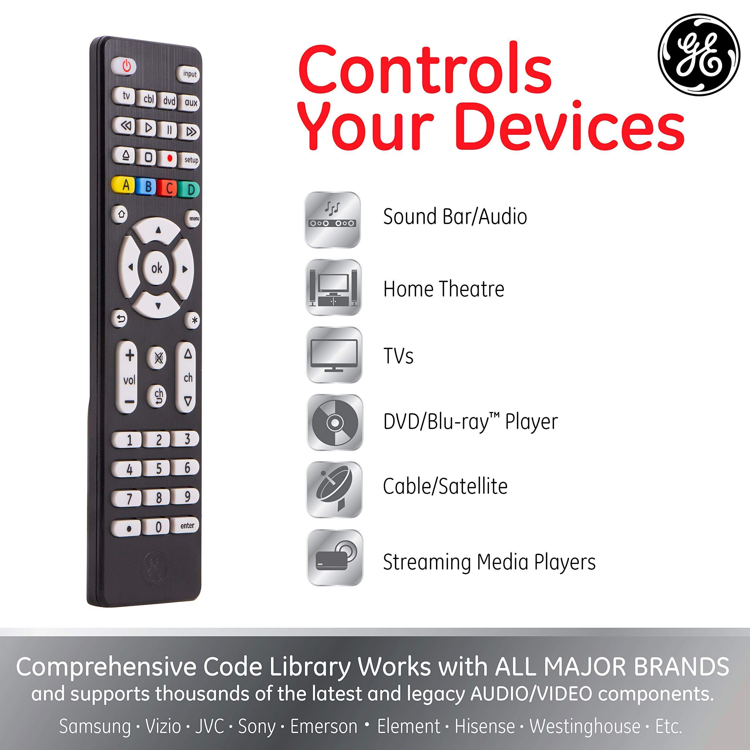 Ge 4 Device Universal Remote Works With Smart Tvs Lg Vizio Sony