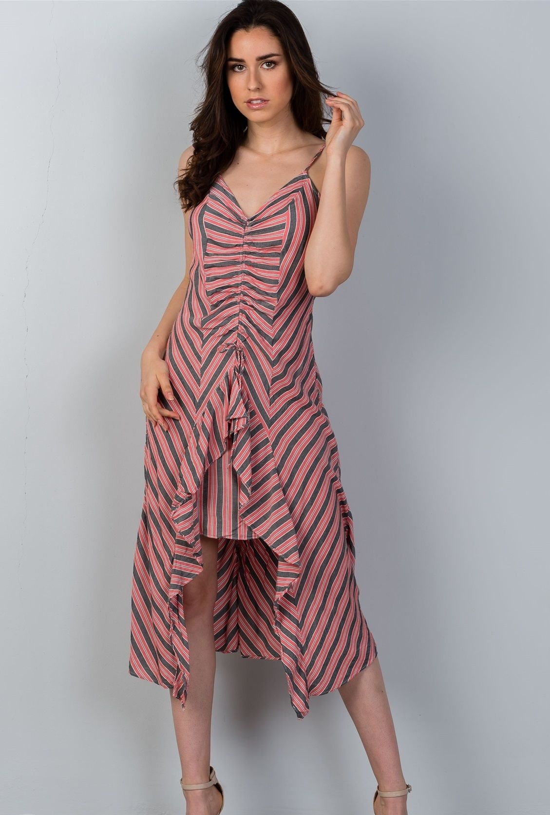 2bfeb7857f Ladies fashion high low design stripes asymmetrical ruched front midi dress.  Sale   18.85. Free Shipping.