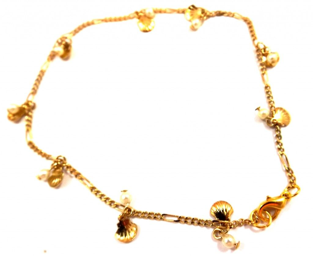 Buy Me on URCRafti.com! Shell with Pearl Gold Anklet - Gold Anklet by Linda Dunn At least Pin Me so everyone can see!
