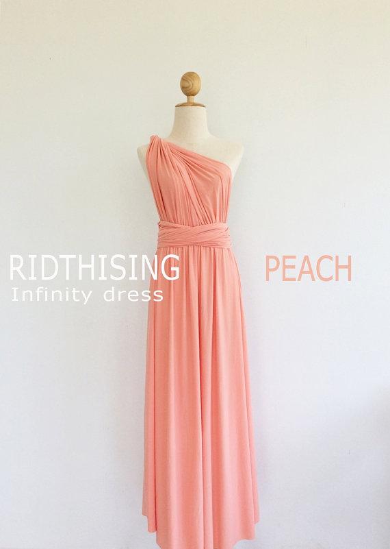 Maxi Peach Bridesmaid Dress Infinity Dress Bridesmaid Dress Prom Dress  Convertible Dress Wrap Dress af90f21920f0