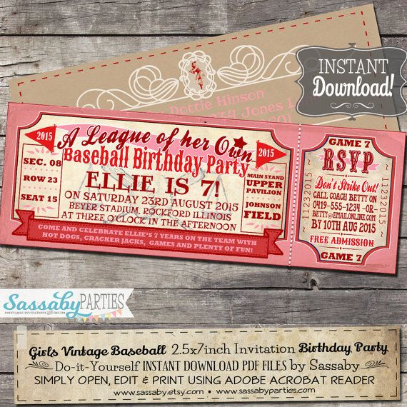 Vintage Girls Baseball BIRTHDAY Invitation A League Of Her