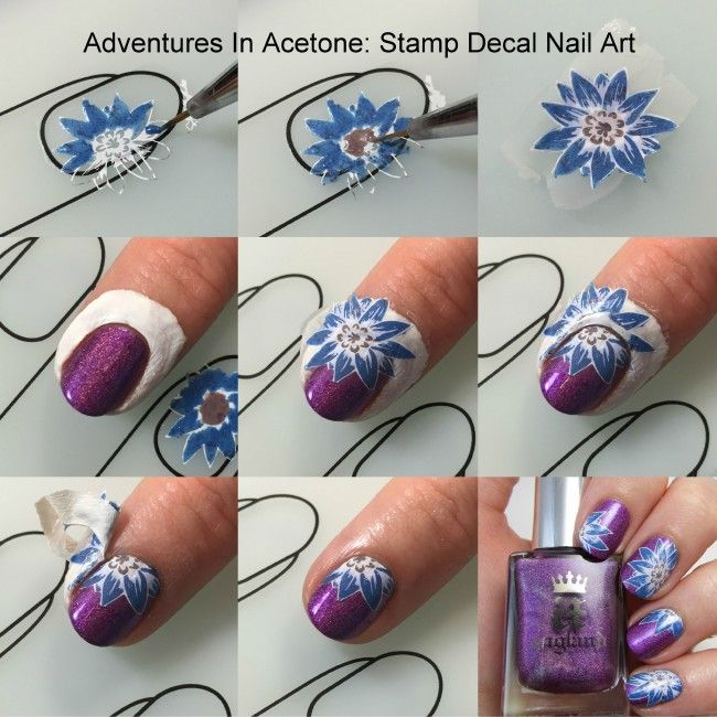 Nail Art Designs Tutorial Youtube: Stamping Decal Floral Nail Art Collage2 In 2019