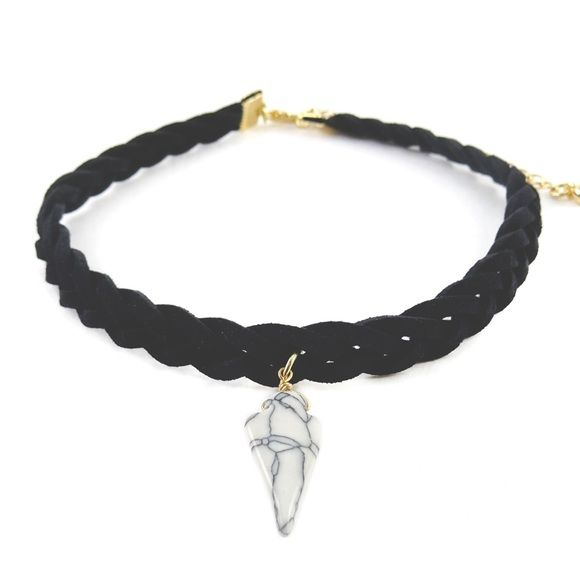 """Coming Soon Arrowhead Choker Faux suede braided choked with an arrowhead marble stone design.                                                Choker length 11""""                                                Nickel & lead free                                                Like to be notified of its arrival Boutique Jewelry Necklaces"""