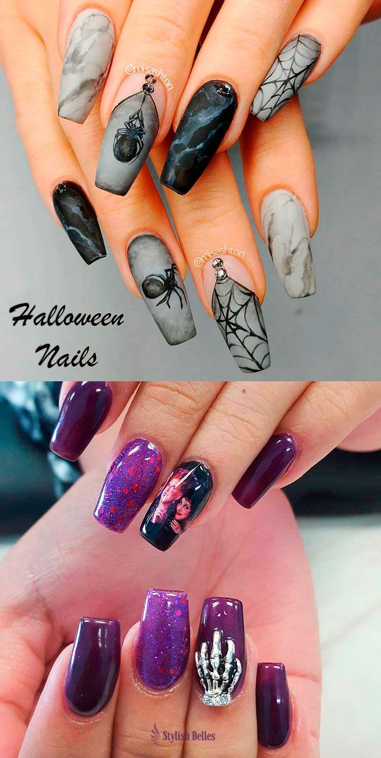 Cute Coffin Shaped Halloween Nails Halloween Halloweennails Halloweennailart Blacknails Halloweenn Halloween Nail Designs Coffin Nails Designs Goth Nails