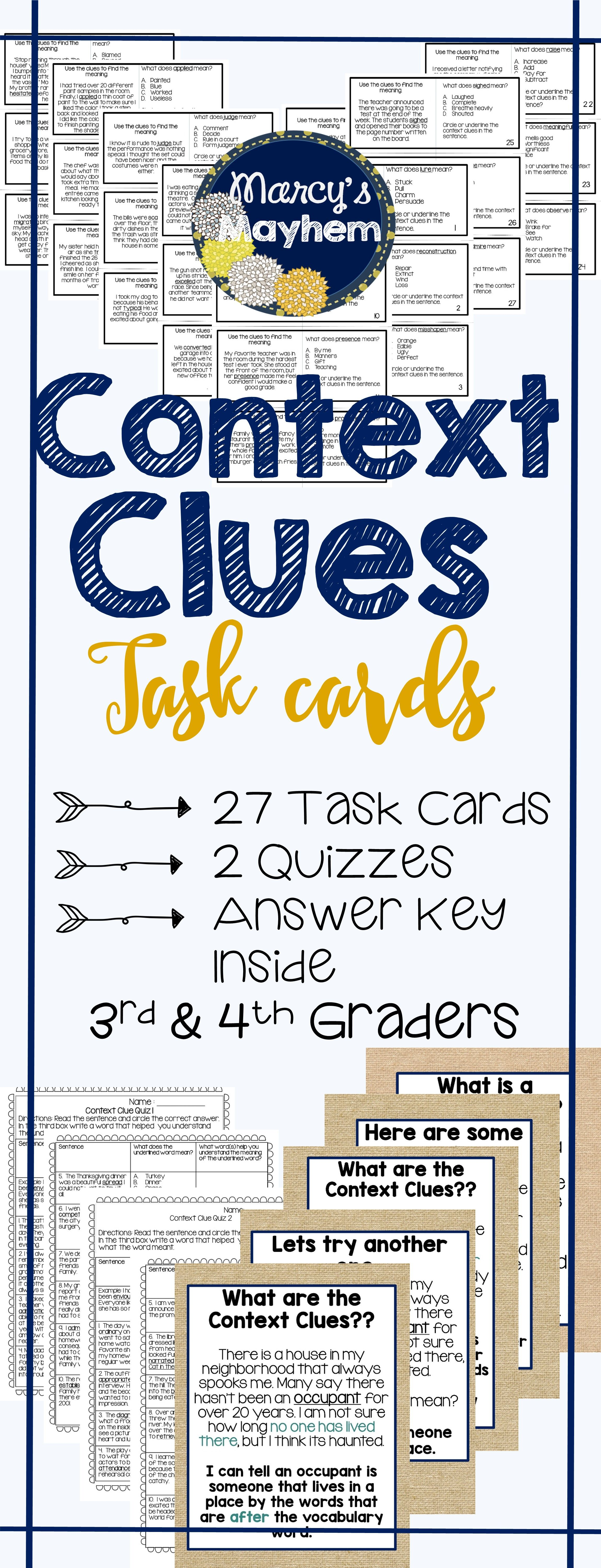 Context Clues Cards 3rd Grade Amp 4th Grade Task Card