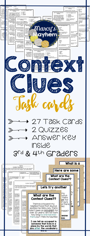 Context Clues Cards 3rd Grade Amp 4th Grade Task Card