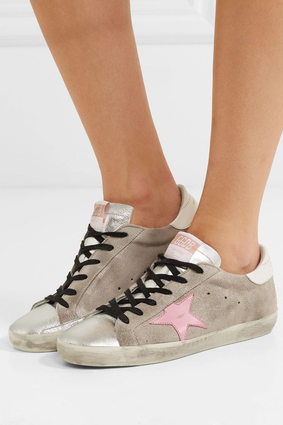7f6018a64 Golden Goose Deluxe Brand | Superstar distressed glittered suede and leather  sneakers | NET-A-PORTER.COM