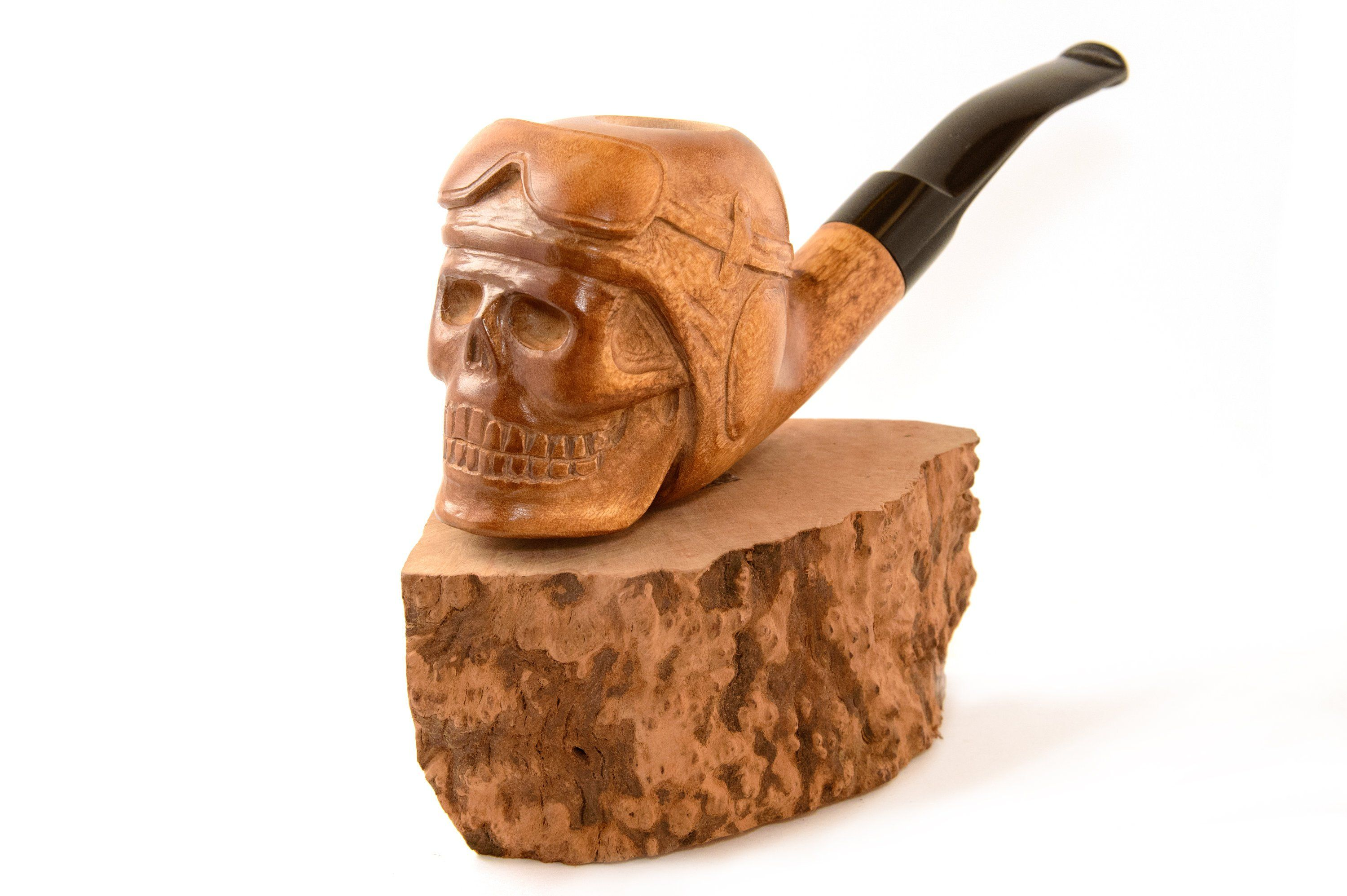 Native American Red Indian Chief Skull Tobacco pipe hand carved  Wooden bowl for smoking from pear wood Birthday Anniversary gift for man