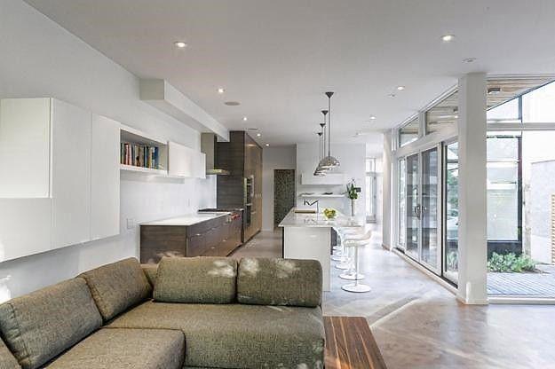 contemporary home modern interior design red accents zen barn