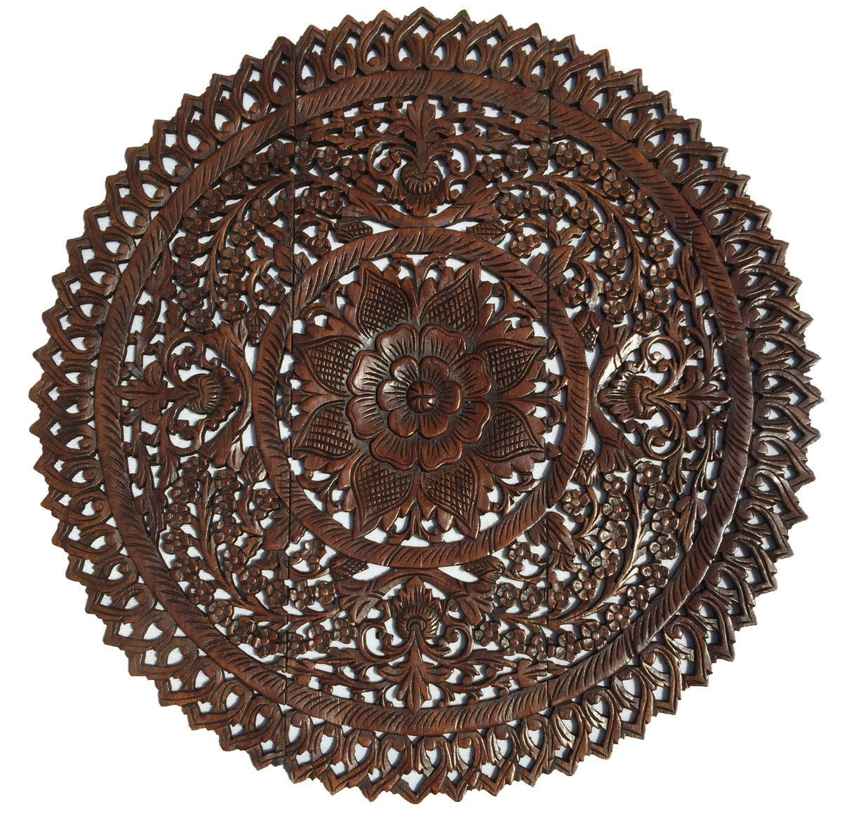 Round Wood Wall Decor elegant medallion wood carved wall plaque. round wood carved