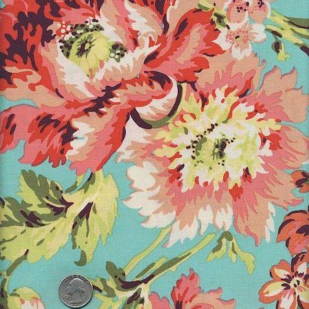 1 Yard : Amy Butler LOVE Bliss Bouquet AB50 Teal - Designer Quilt ... : designer quilt fabric - Adamdwight.com