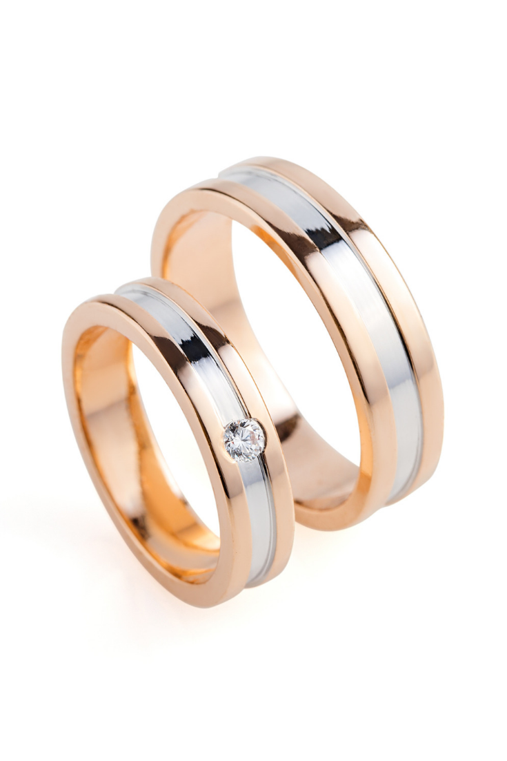 Matching Wedding Bands Made Of Two Colors Of Gold Wedding Etsy In 2020 Wedding Ring 14k White Gold Wedding Rings Solitaire Titanium Wedding Rings