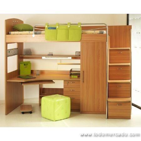 Camarote y set multifuncional dormitorio juvenil la reina for Cama oficina