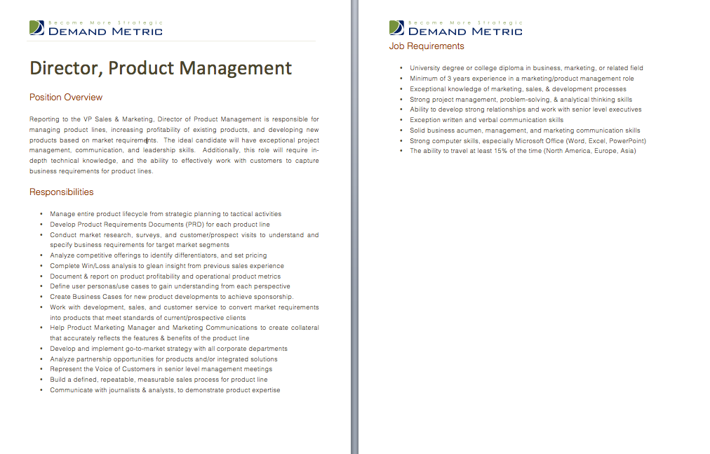 Director Of Product Management Job Description A Template To - Market requirements document template