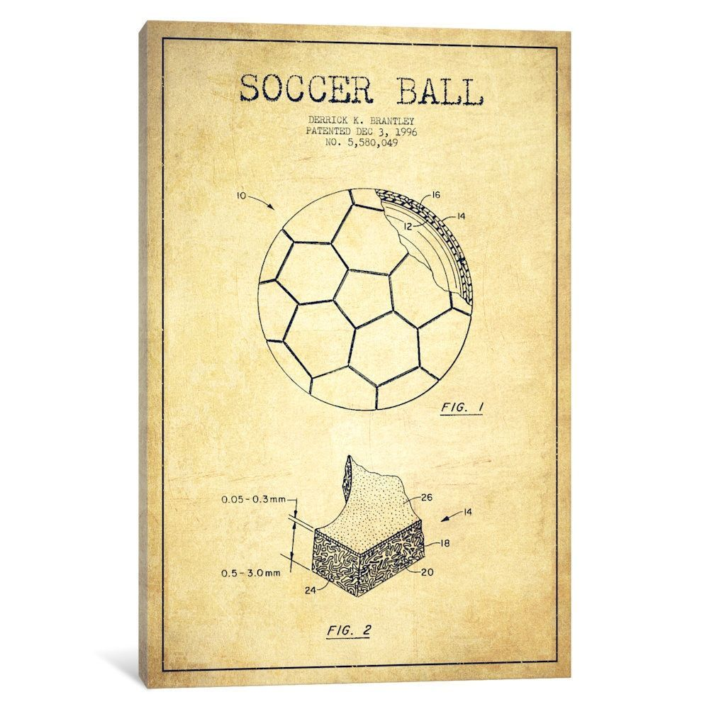 iCanvasART Football Charcoal Patent Blueprint Canvas Print 26 x 18