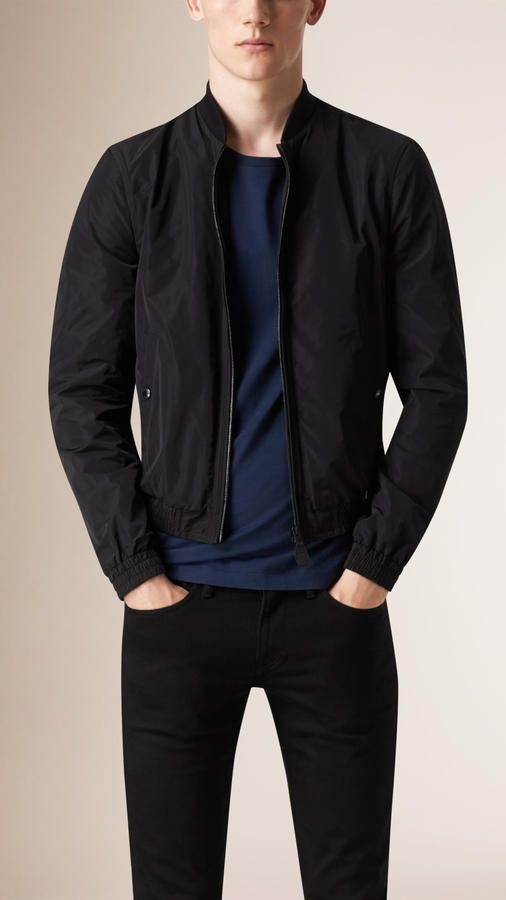 $575, Burberry Brit Showerproof Bomber Jacket. Sold by Burberry. Click for more info: https://lookastic.com/men/shop_items/286159/redirect