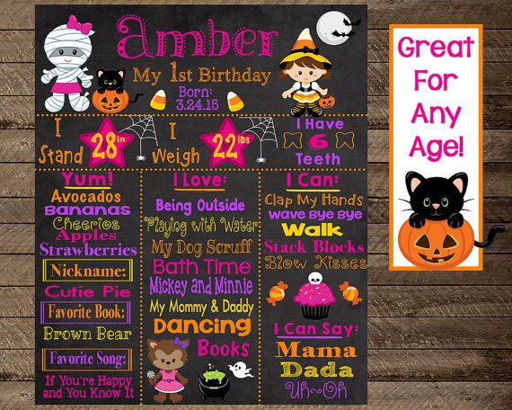 Halloween First Birthday Chalkboard Theme Second 3rd Costume Pumpkin Girl