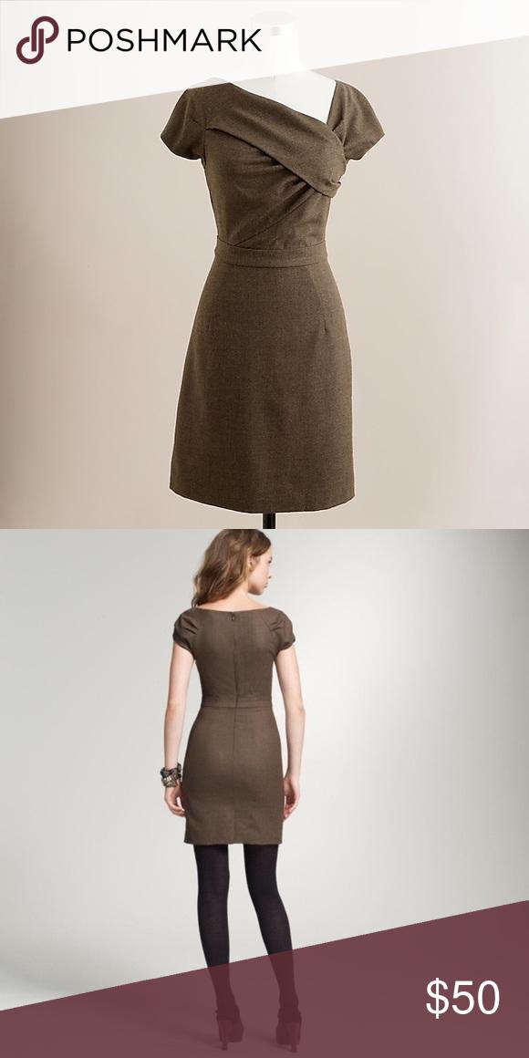 1f3768cc J. Crew Wool Origami Sheath Dress Beautiful J. Crew Origami sheath dress is  a great grey/brown color. Fully lined. Dress: 100% wool Lining: 100%  Acetate J. ...