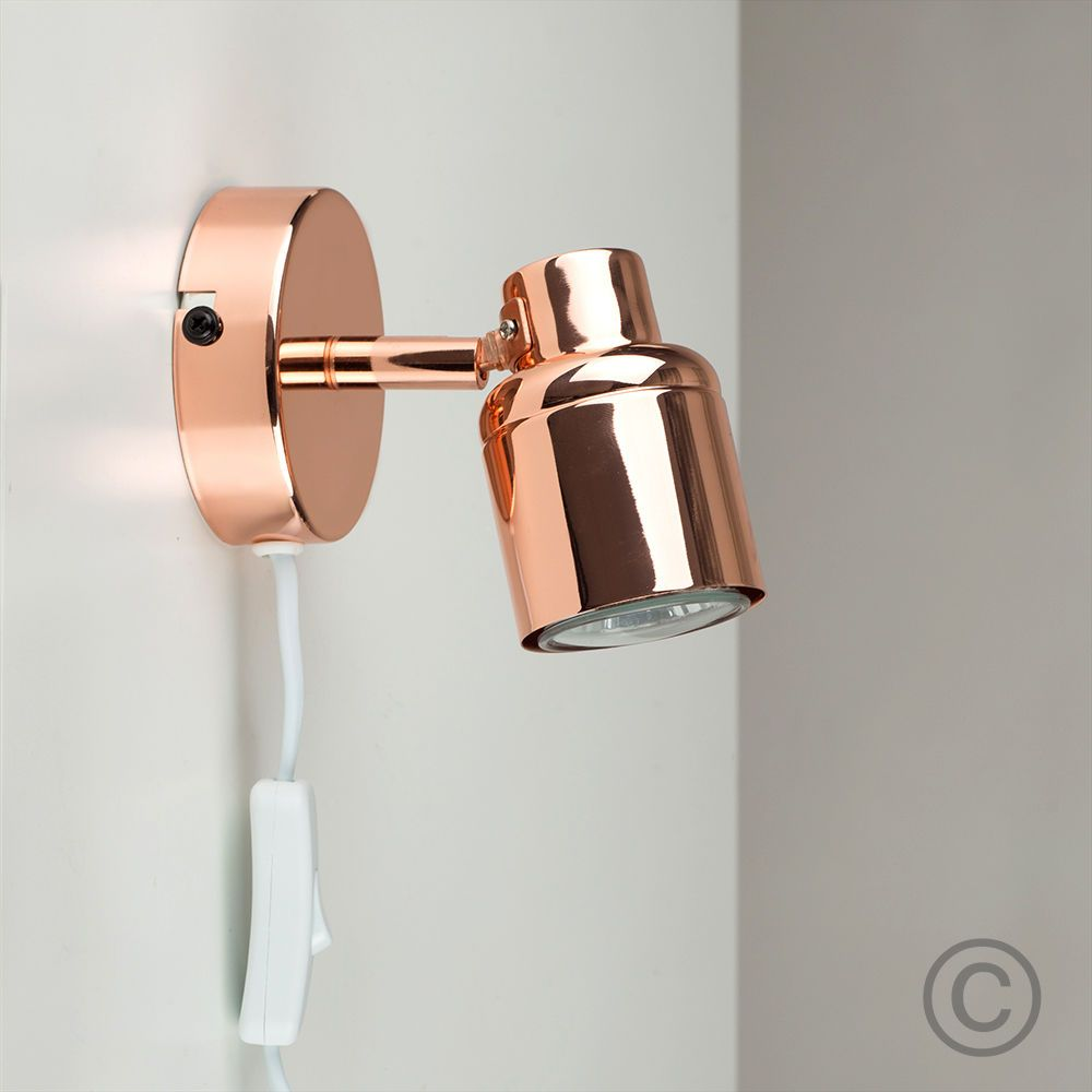 Contemporary Copper Adjule Single Wall Light Plug In Spotlight