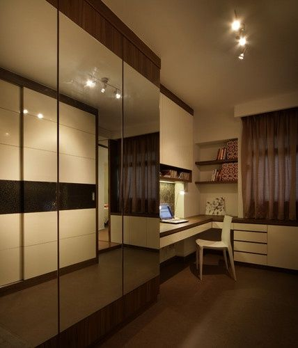 Wardrobe Design With Study Table