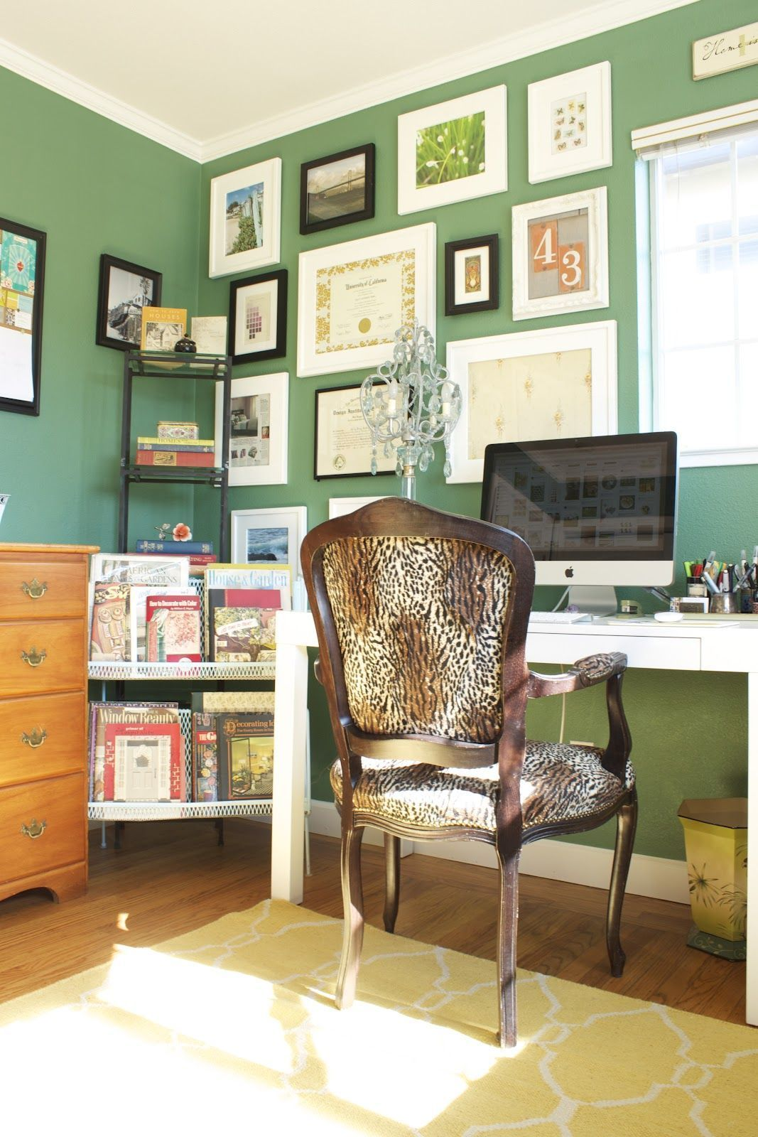 jade emerald green home office gallery wall interior on green office paint color id=19425