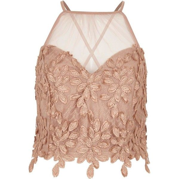 River Island Beige leaf lace mesh insert bralette ($40) ❤ liked on ...