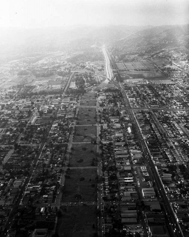 1957- Aerial view looking north toward Sepulveda Pass where