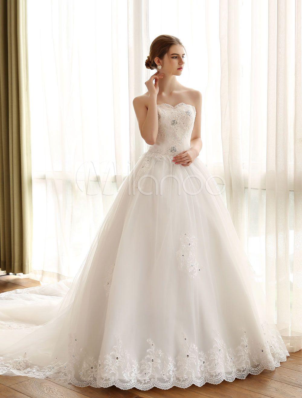 e4ef6f955 Vestido de novia princesa Con cola con escote palabra de honor sin mangas  De banda de