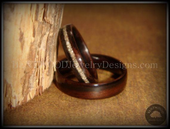 Bentwood Rings Classic Couple Macassar Ebony by BENTWOODJewelry