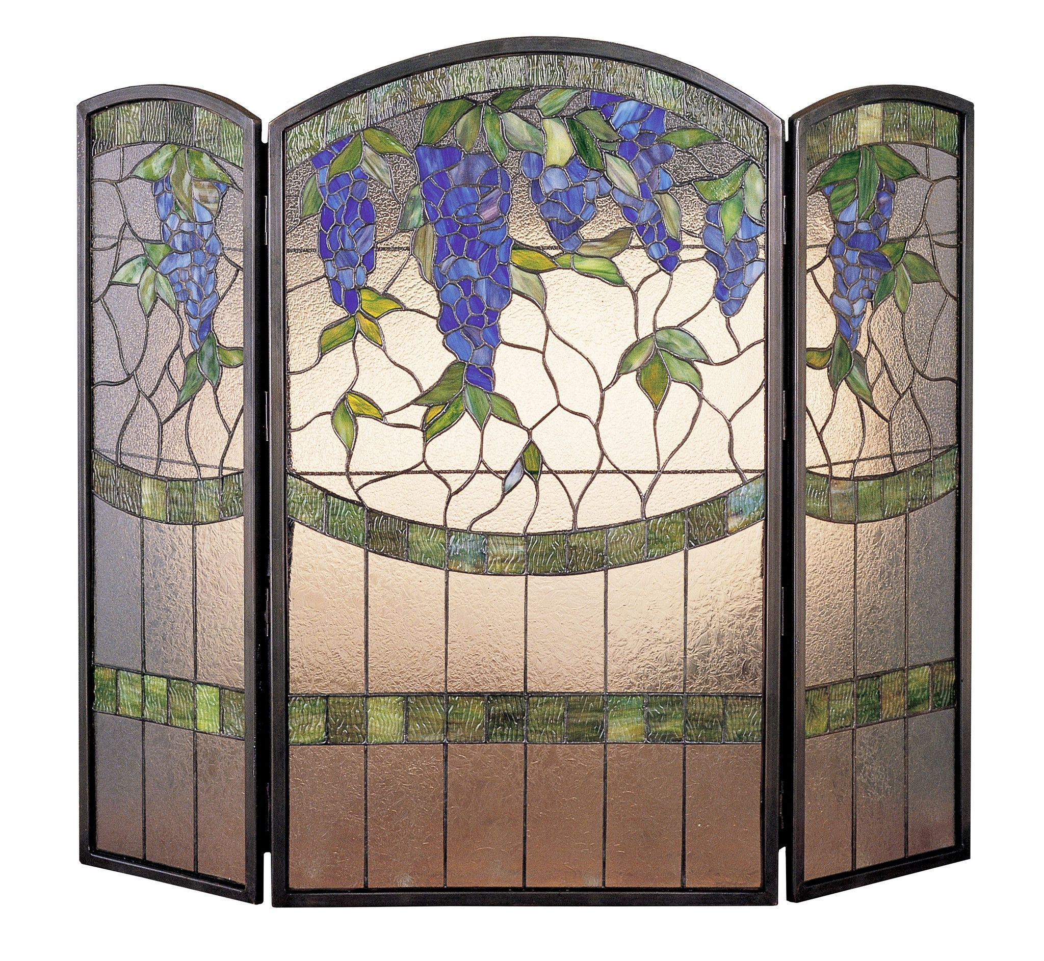 40 w x 34 h wisteria stained glass folding fireplace screen