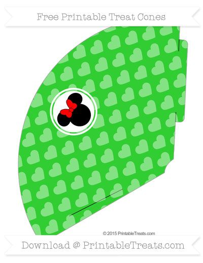 Free Lime Green Heart Pattern  Minnie Mouse Treat Cone