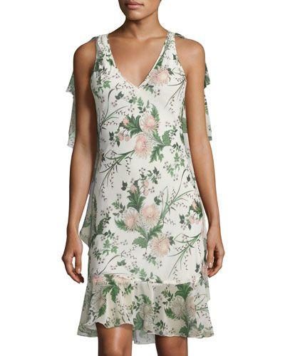 Floral-Print Chiffon-Trim Midi Dress