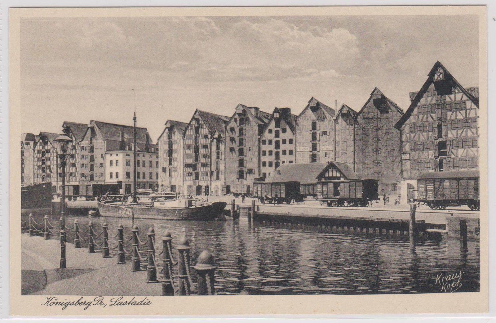 Tolle AK: Lastadie in Königsberg (Ostpreußen) mit Frachtkahn - aus 1941 ANSEHEN! | eBay