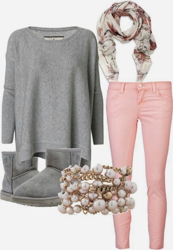 See more Grey Sweater and boots with pink jeans girls winter ...