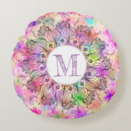 Monogram girly colorful mandala sunflower pattern round pillow