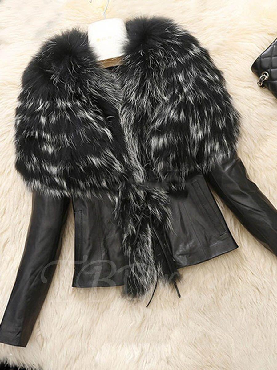 2d81f6754 Cape Style Faux Fur Lapel Slim PU Short Women's Jacket - m.tbdress.com