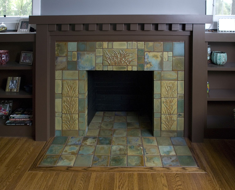 craftsman tile fireplace art