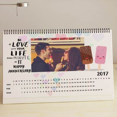 be in love personalized anniversary a4 desk calendar personalized