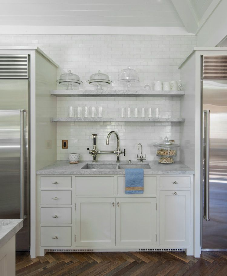 open shelves white kitchen marble counters (With images ...