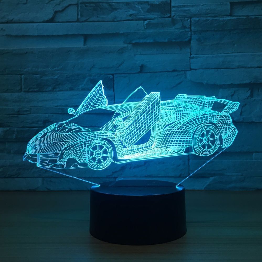 Cool Super Car Acrylic 3d Lamp 7 Color Change Small Night Light Night Light 3d Night Light 3d Lamp