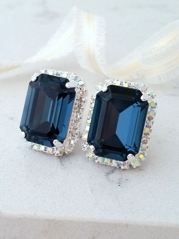 Navy Blue Earrings Studs Bridal Crystal Octagon