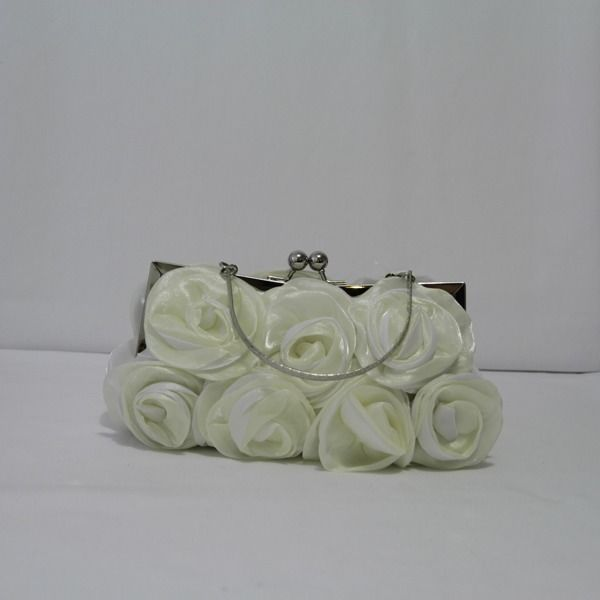 New Ivory Evening Bag With Organza Rose Ruffle Clutch Purse Handbag #Clutch