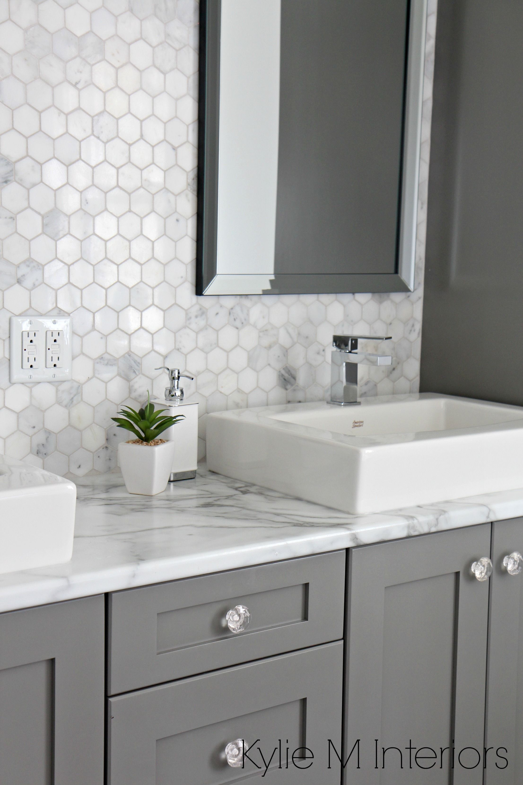 white hexagon marble tile with laminate countertop and painted gray ...