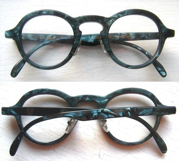 Les Halles Round Hornrim Green Teal Marble Eyeglass Frames France Vintage