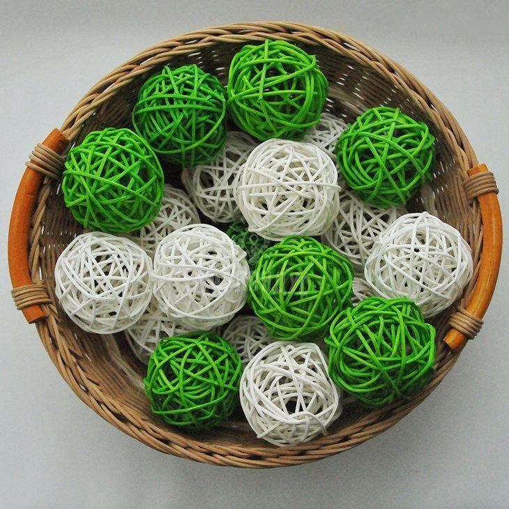 GreenWhite colors rattan balls string lights LED handmade Wedding