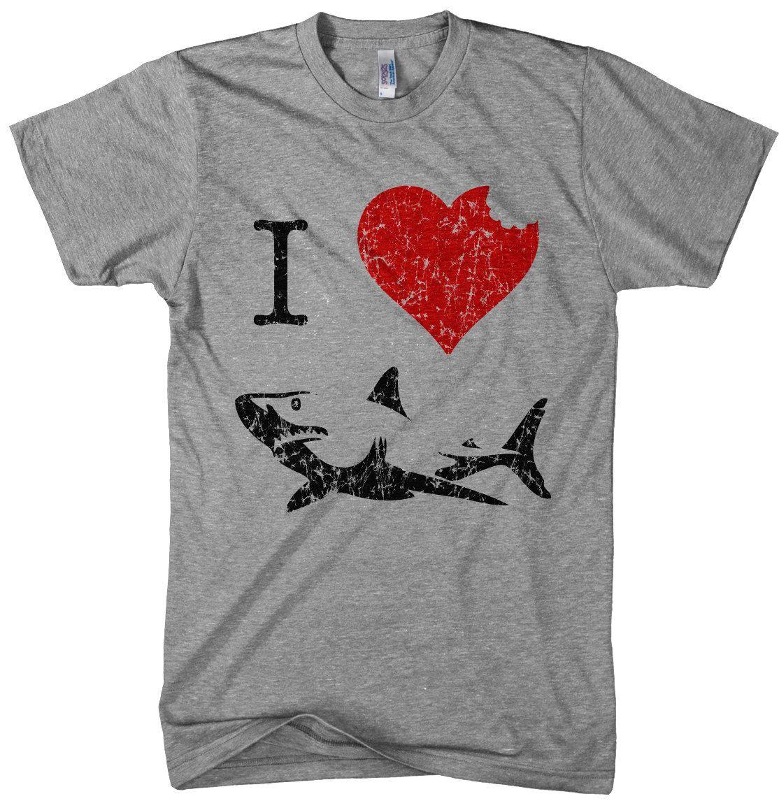 b4669464 I Love Sharks t shirt funny shark bite shirt by CrazyDogTshirts, $18.99