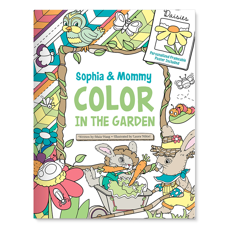 Kids Personalized Coloring Book Color in the Garden With Me ...