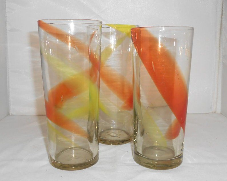 Hand Blown Ribbon Glass Tumblers Yellow Orange Set Of 3 Etsy Glass Tumbler Glass Vintage Glassware