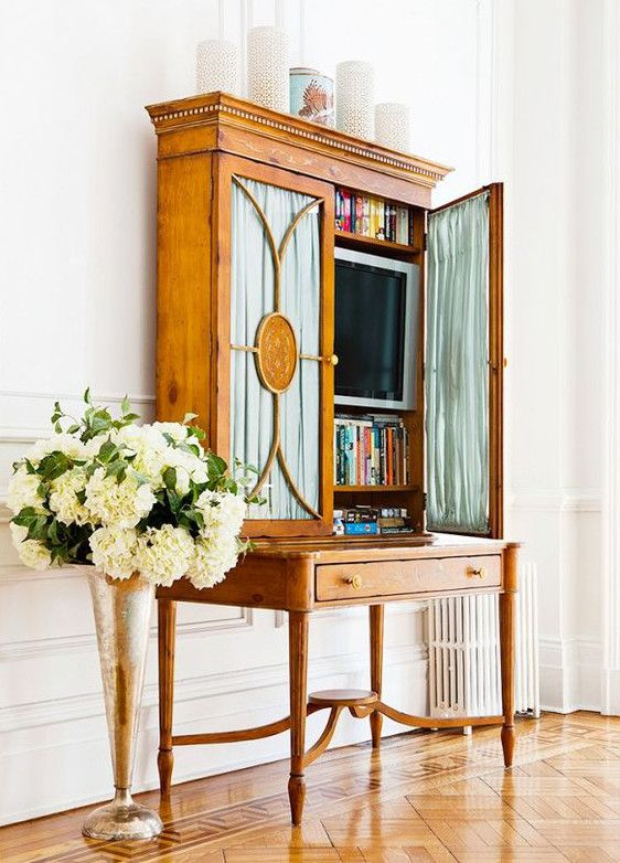 Hidden Tvs   Tv Behind Shirred Curtains On The Glass Doors Of A Directoire  Style Library